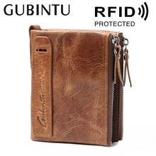 Gubintu vintage leather enterprise rfid men's coin purse