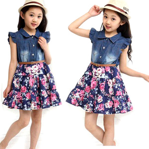 Children's Dress Girls Party Dress Children's Clothing Summer 2019 New Girl Short-sleeved Jeans Floral Chiffon Dress Girls Dress(China)