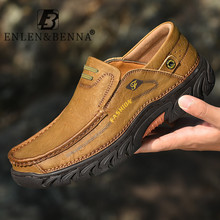 Leather Shoes Men Casual Luxury Hiking Non Slip Shoes for Men Handmade Comfort Mens Leather Loafers Flats Slip on Big Size 38-48