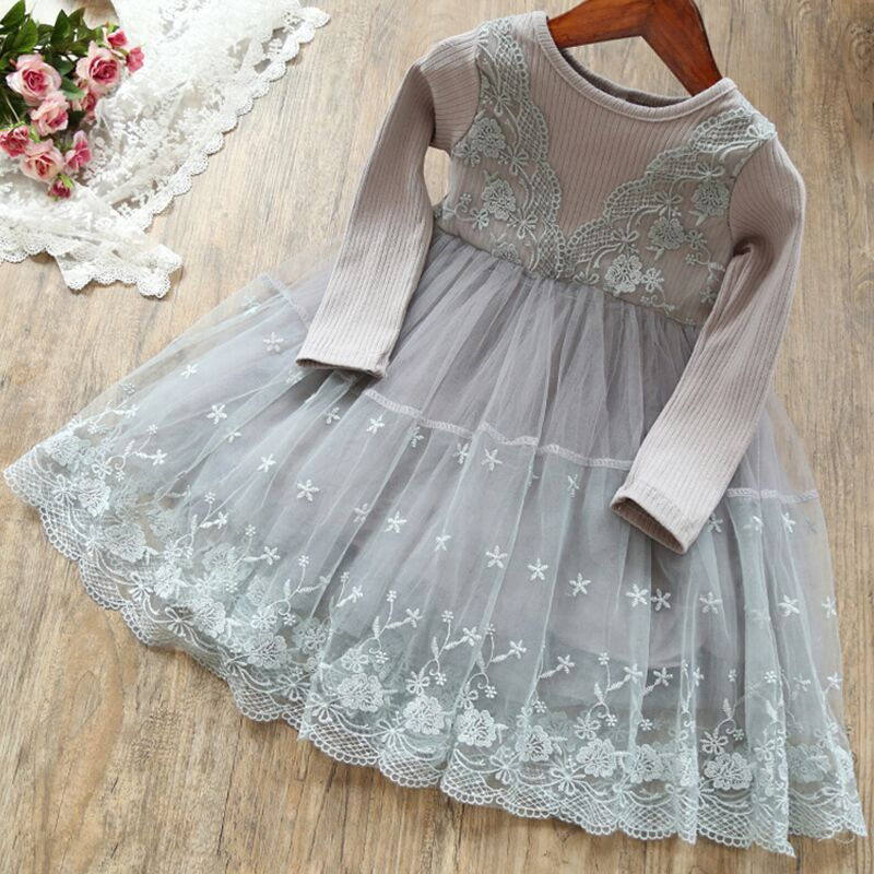 Autumn Lace Cotton Long Sleeve Girls Formal Dress Princess little Girls Flower Embroidery Dresses Kids Party Ball Gown Clothing 3
