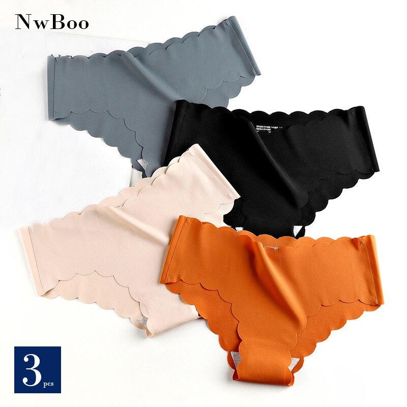 Nwboo 3pcs/Lot Ruffle Ice Silk Panties For Women Girls Shorts Pack Seamless Lingere Satin Smooth Underwear Lady Set