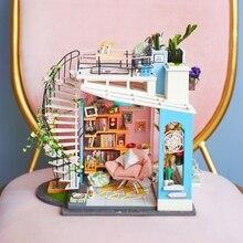 Robotime DIY кукольный домик, миниатюрный кукольный домик, мебель, деревянный кукольный домик, наборы для детей, подарок для дропшиппинга