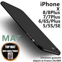 Coque Silicone Mat Antichoc 6 7 8 Plus SE X XR XS MAX 11 Pro 12
