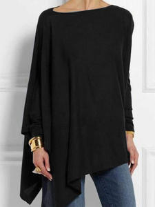 Womens Tops Blouses-Shirts Tunic Spring Irregular O-Neck Long-Sleeve Female Casual Plus-Size