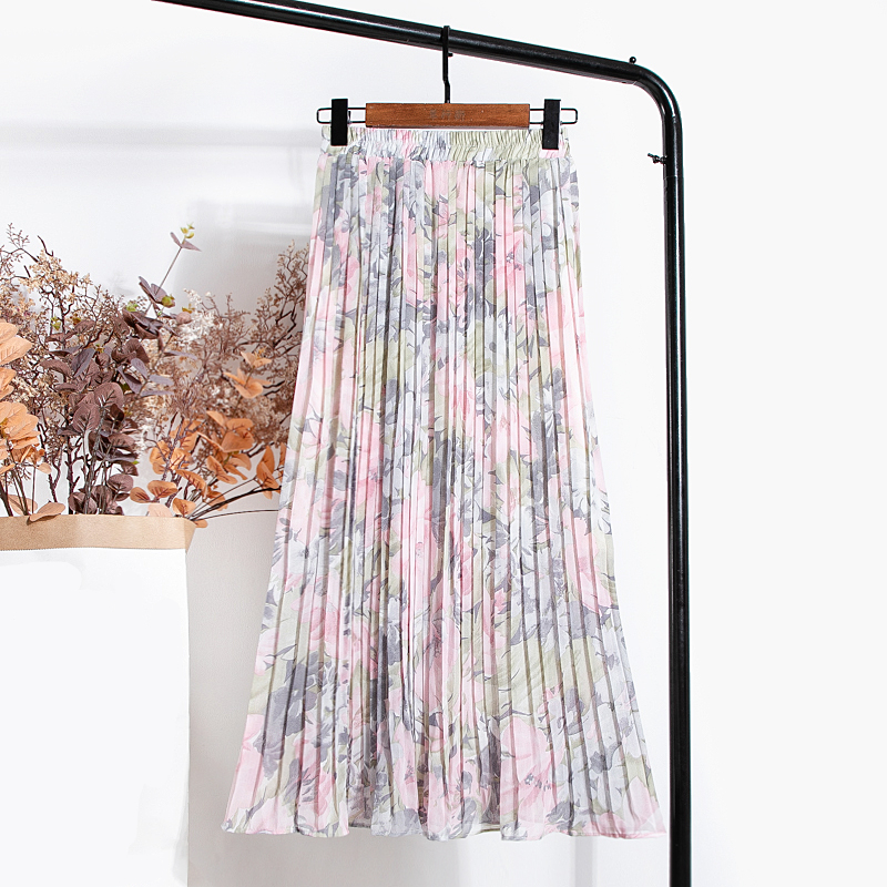 REALEFT New 2021 Vintage Floral Printed Tulle Pleated Mi-long Women Skirts High Waist Loose Female Umbrella Skirts Spring Summer 3