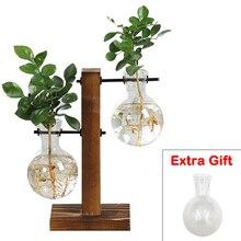 Teraryum topraksız bitki vazolar Vintage saksı şeffaf vazo ahşap çerçeve cam masa üstü bitkiler ev Bonsai dekor