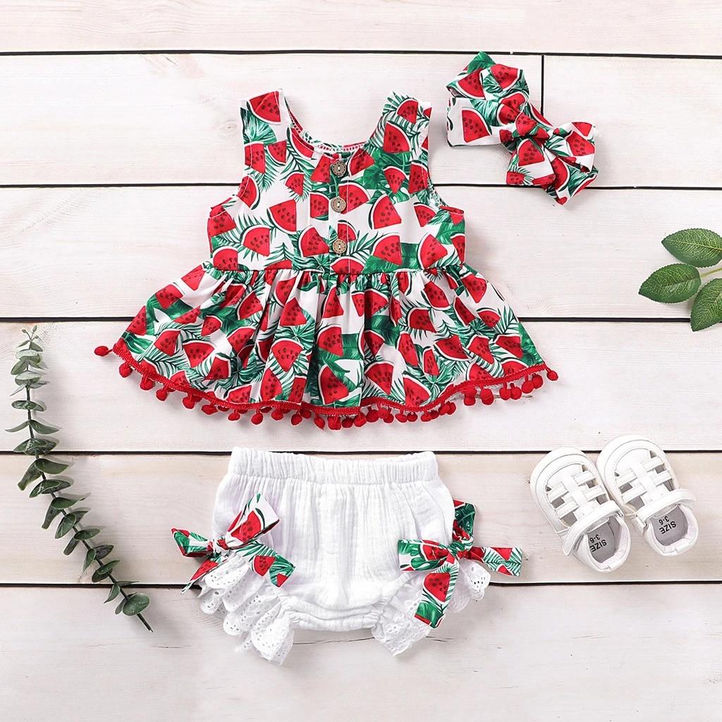 Baby Girls Outfit 2 Piece T-Shirt Legging Top Set Watermelon Print Summer Stripe