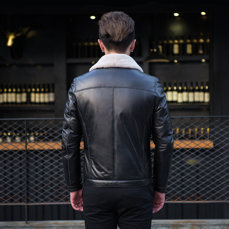 Genuine Leather Men's Winter Down Jacket Sheepskin Coat For Men Wool Fox Fur Collar Slim Real Leather Jacket N5332 KJ846