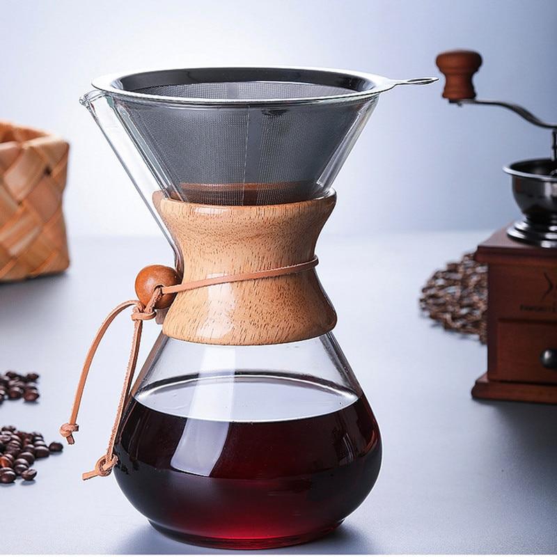 1PC 1000ml Glass Coffee Pot Dripper Moka Tea Maker Percolator Barista Tools Espresso Manual Kettle Teapot With Stainless Steel