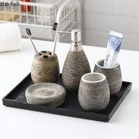 Cepillado textura accesorios de baño de cerámica 6 unids/set dispensador portátil de jabón boca taza titular de cepillo de dientes de jabón plato bandeja de baño