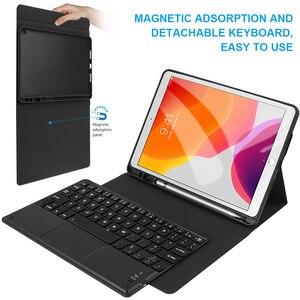 Image 4 - Touchpad Tastiera Per iPad di Caso da 10.2 pollici con la Tastiera di Tocco di Bluetooth di Spagnolo Francese Russo Tastiera Tablet Custodia protettiva
