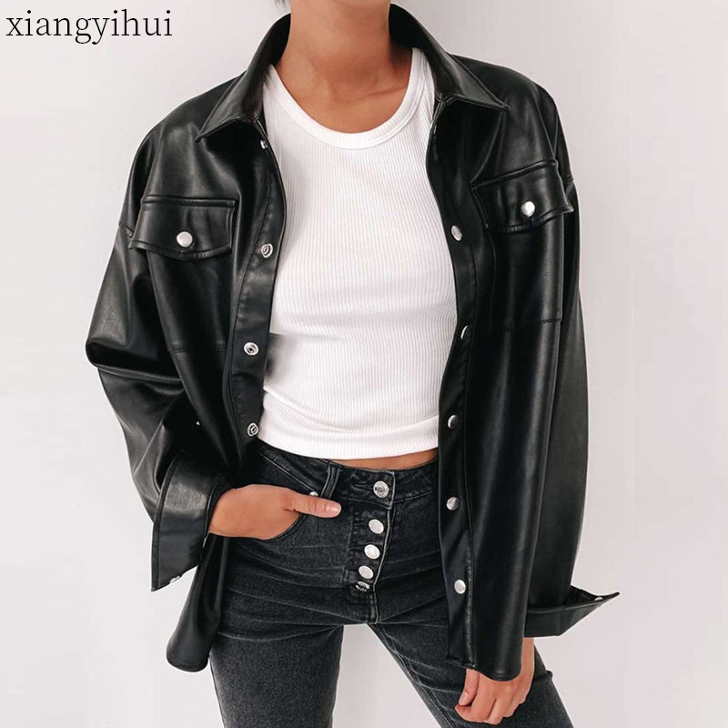 Motorcycle Faux Leather Shirt Women Fashion Metal Single-breasted Pu Leather Shirt Woman Autumn Winter Long Sleeve Shirts Tops