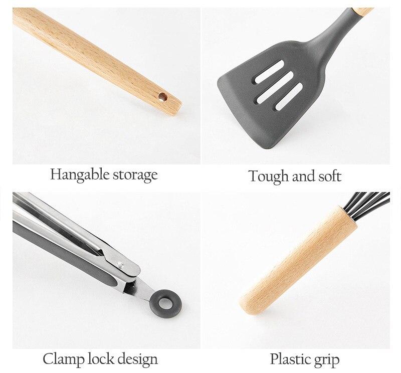 Utensílios de cozinha de madeira lidar com