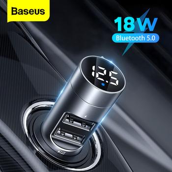 Baseus nadajnik FM zasilacz Bluetooth do odbiornika samochodowego 18W zestaw radiowy odtwarzacz MP3 USB Aux zestaw głośnomówiący bezprzewodowy Modulator FM tanie i dobre opinie CN (pochodzenie) Baseus FM Transmitter Bluetooth Car 18W (Max) Aluminum Alloy Nadajniki fm 12 v 32 6g Support QC3 0 AFC FCP fast charging