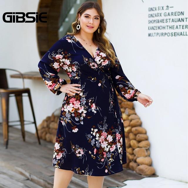 GIBSIE Plus Size Floral Print High Waist Dresses Women V-neck Long Sleeve Wrap Dress Autumn Casual A-Line Knee Length Dress 3
