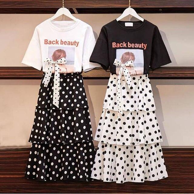 Summer Big Size Slim T-shirt Skirts Set for Women 2021 New Girl Student Sweet Print Polka Dot Dress Fashion Ribbon Bow-knot Tops 4