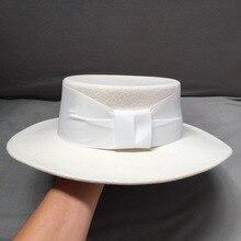 שלג לבן עצם כובע 100% צמר חם כובע סרט Trim חורף רחב שוליים נשים כובע שטוח כתר פדורה מסיבת חתונה כנסיית כובע