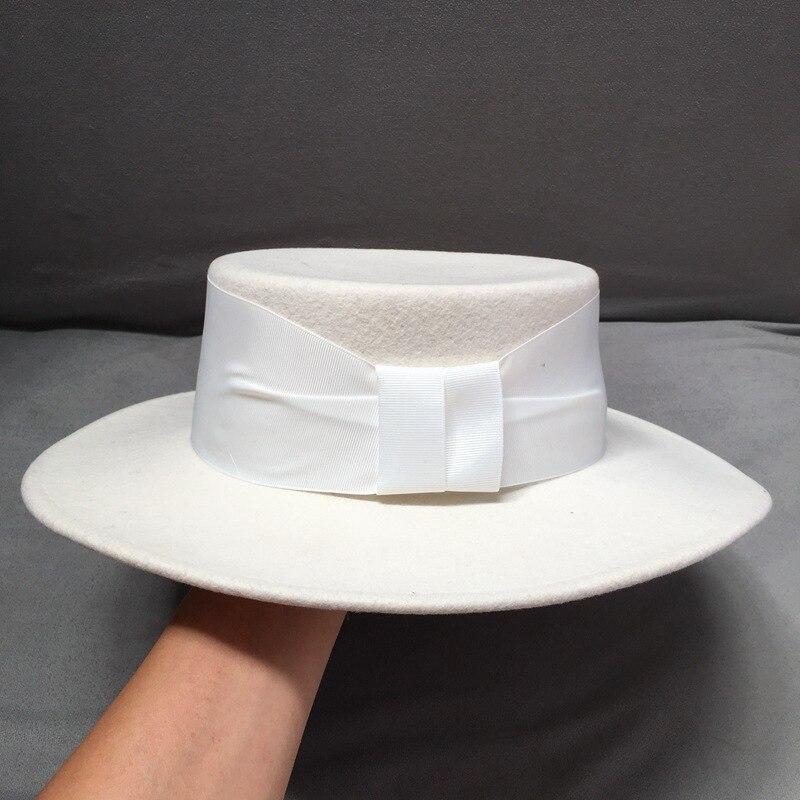 Snow White Bone Hat 100% Wool Warm Hat Ribbon Trim Winter Wide Brimmed  Women Hat Flat Crown Fedora Party Wedding Church Hat