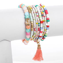 Bohemian Multilayer Charm Tassel Bracelets Bangles For Women Fashion Colorful Natural Stone Seed Beaded Bracelet Sets Jewelry(China)