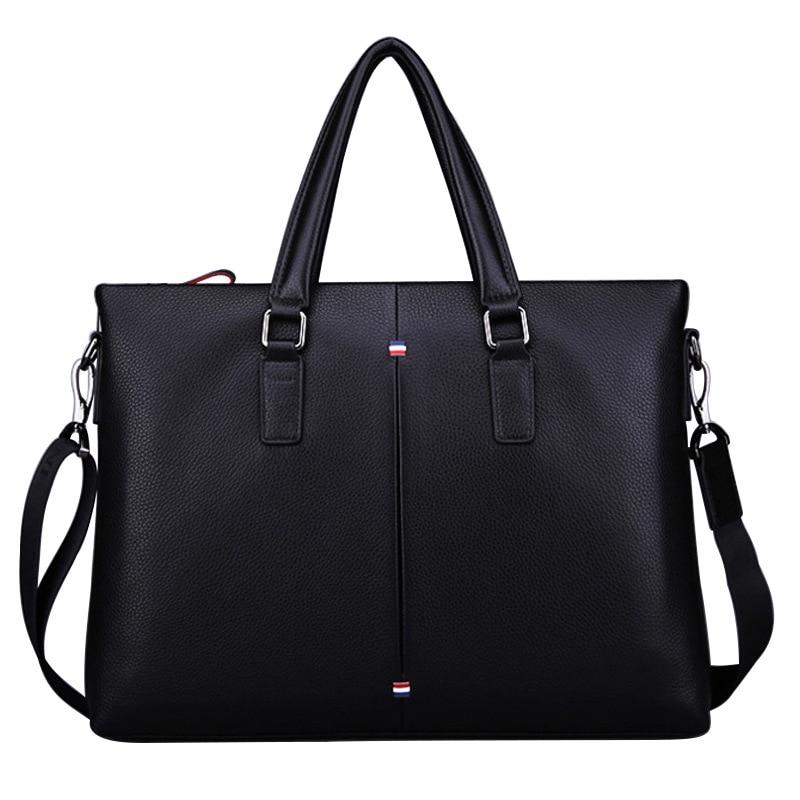 Briefcase Black Leather Men Leather 14-inch Laptop Men Official Postal Bag Office Men Combination Shoulder Bag