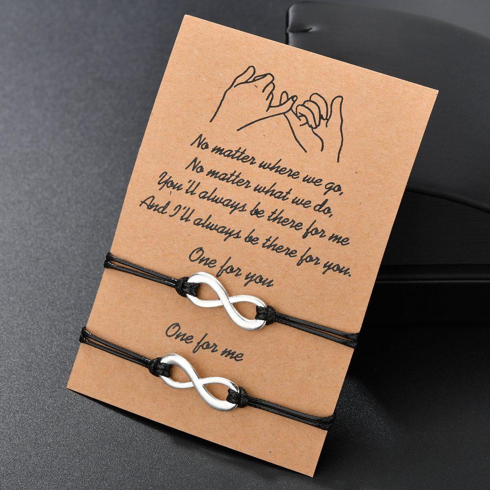 Charmsmic, винтажные бриллиантовые восемь знаков, подвески, браслеты для девушек, Женская Вощеная Веревка, ювелирные изделия