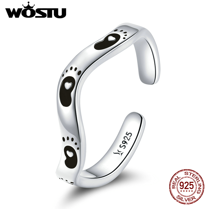 WOSTU 925 Sterling Silver Footprint Ring Adjustable Rings Finger For Women Elegant Silver Jewelry CQR712