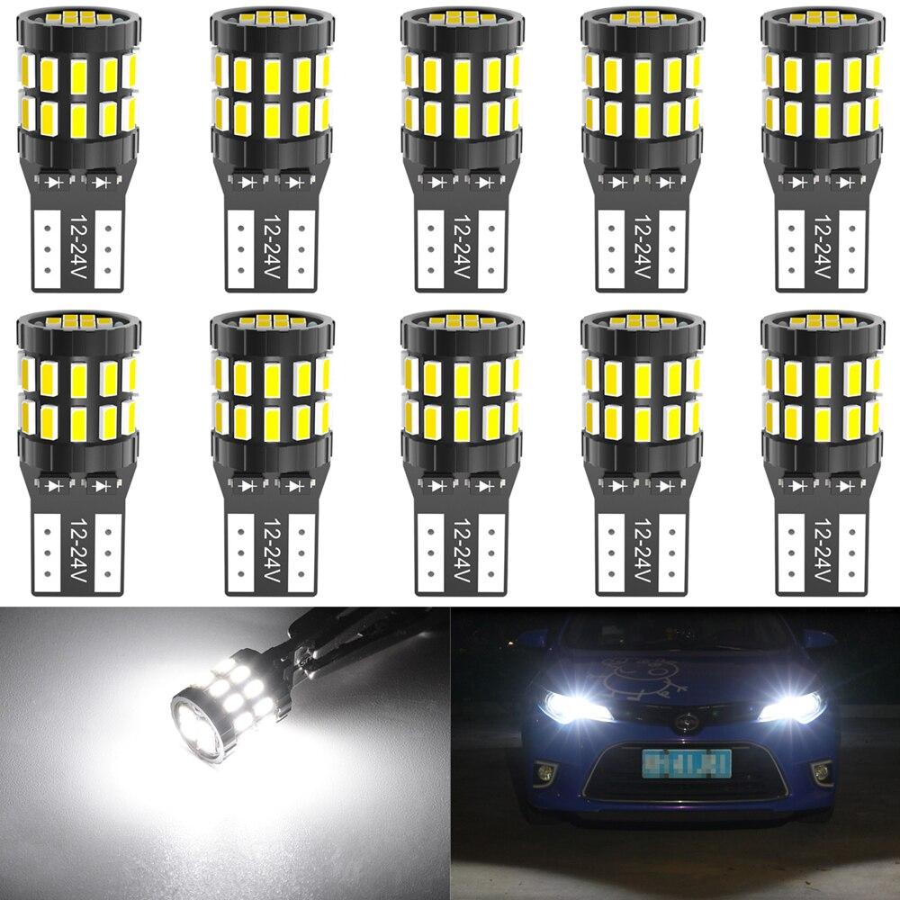 10pcs T10 LED Canbus Bulbs For BMW E90 E60 White 168 501 W5W LED Lamp Wedge Car Interior Lights 12V 6000K Red Amber yellow BlueSignal Lamp   -