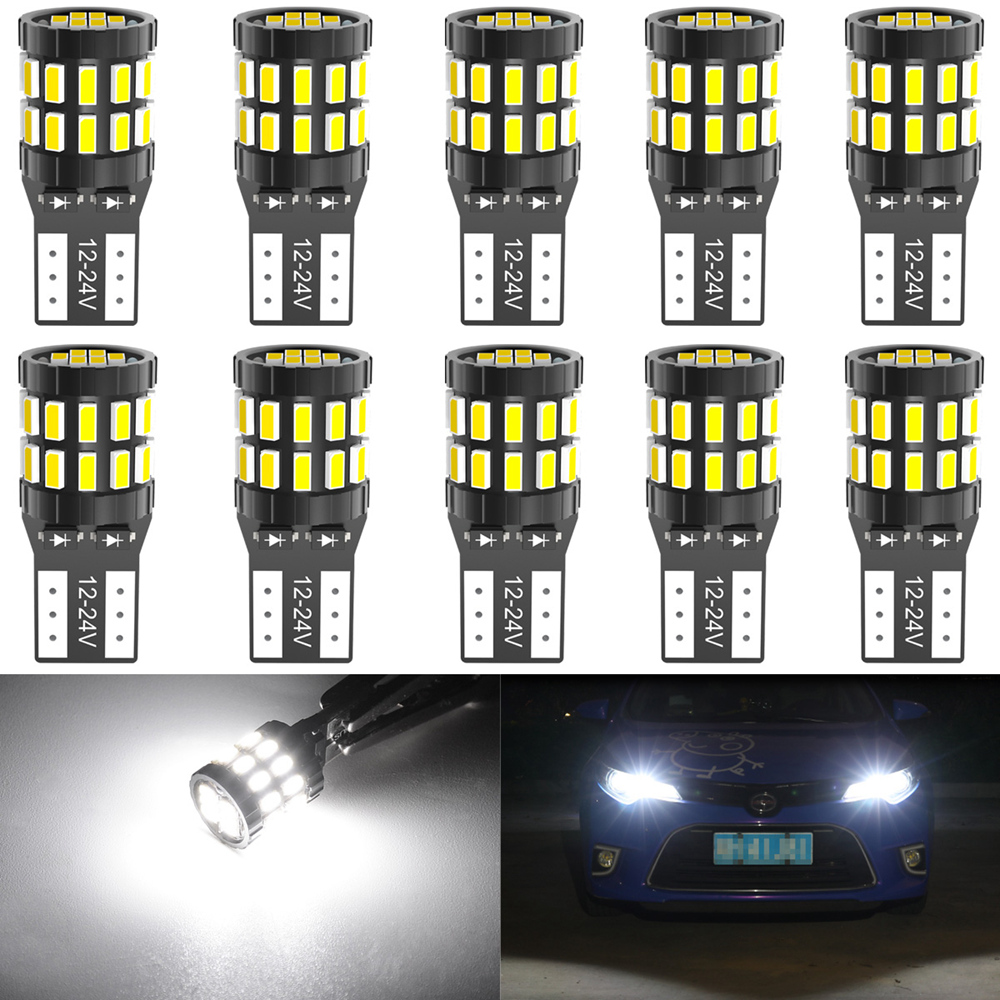 10pcs <font><b>T10</b></font> <font><b>LED</b></font> Canbus Bulbs For BMW E90 E60 White 168 501 W5W <font><b>LED</b></font> Lamp Wedge Car Interior Lights 12V 6000K Red Amber yellow <font><b>Blue</b></font> image