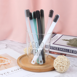 2PCS/lot  Charcoal Toothbrushes Reusable Soft Bristles Anti-skid Couple Toothbrush Random Color