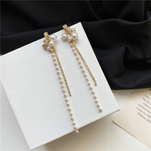 Fairy Rhinestone Long Chain Trendy Earrings Simple Simulated-pearls Tassel Vintage Earrings rhinestone long chain earrings