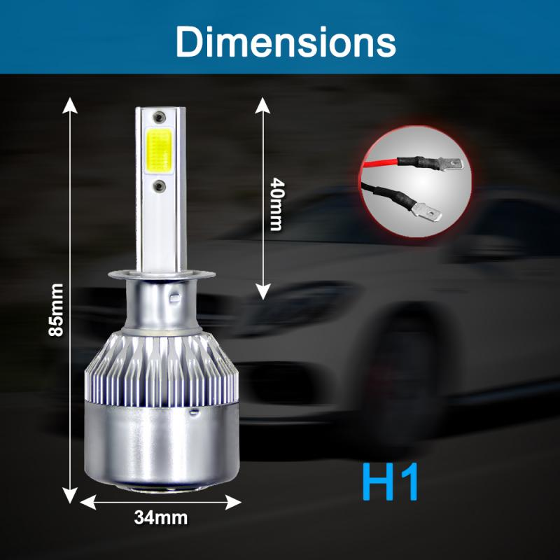 C6 H1 <font><b>LED</b></font> Headlight Hulbs H1 H4 <font><b>H7</b></font> H11 HB4 9005 HB3 9006 Car Headlight Bulbs 72W 8000LM Car Accessories 6500K 8000K Fog Light image