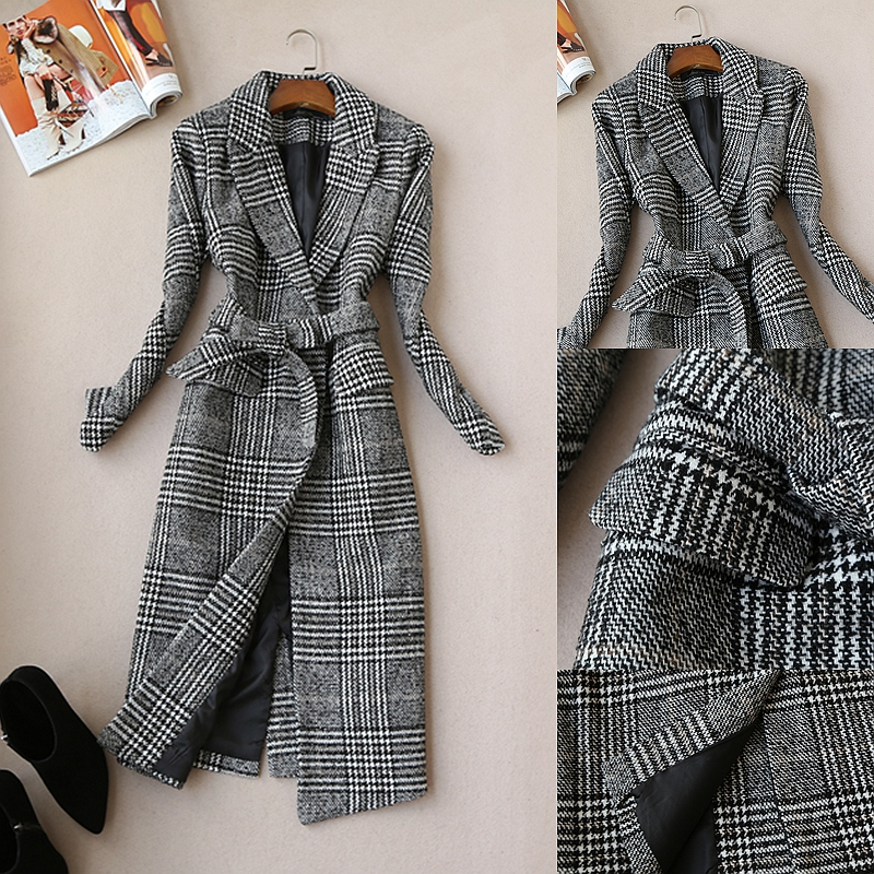 high quality Winter ladies jacket female long thick coat woolen windbreaker temperament ladies coat plaid elegant woolen coat