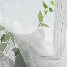 Белые тюлевые занавески s для гостиной, полосатые прозрачные Занавески s для кухни, оконное экранирование, индивидуальные готовые занавески, вуаль, занавеска