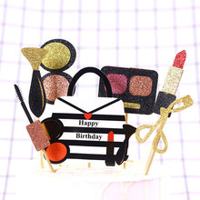 7pcs/Lot Kawaii Lipstick Eyeshadow Cake Topper Creative Birthday Cake Flag For Girls Diy Party Cake Decor Accessories(China)
