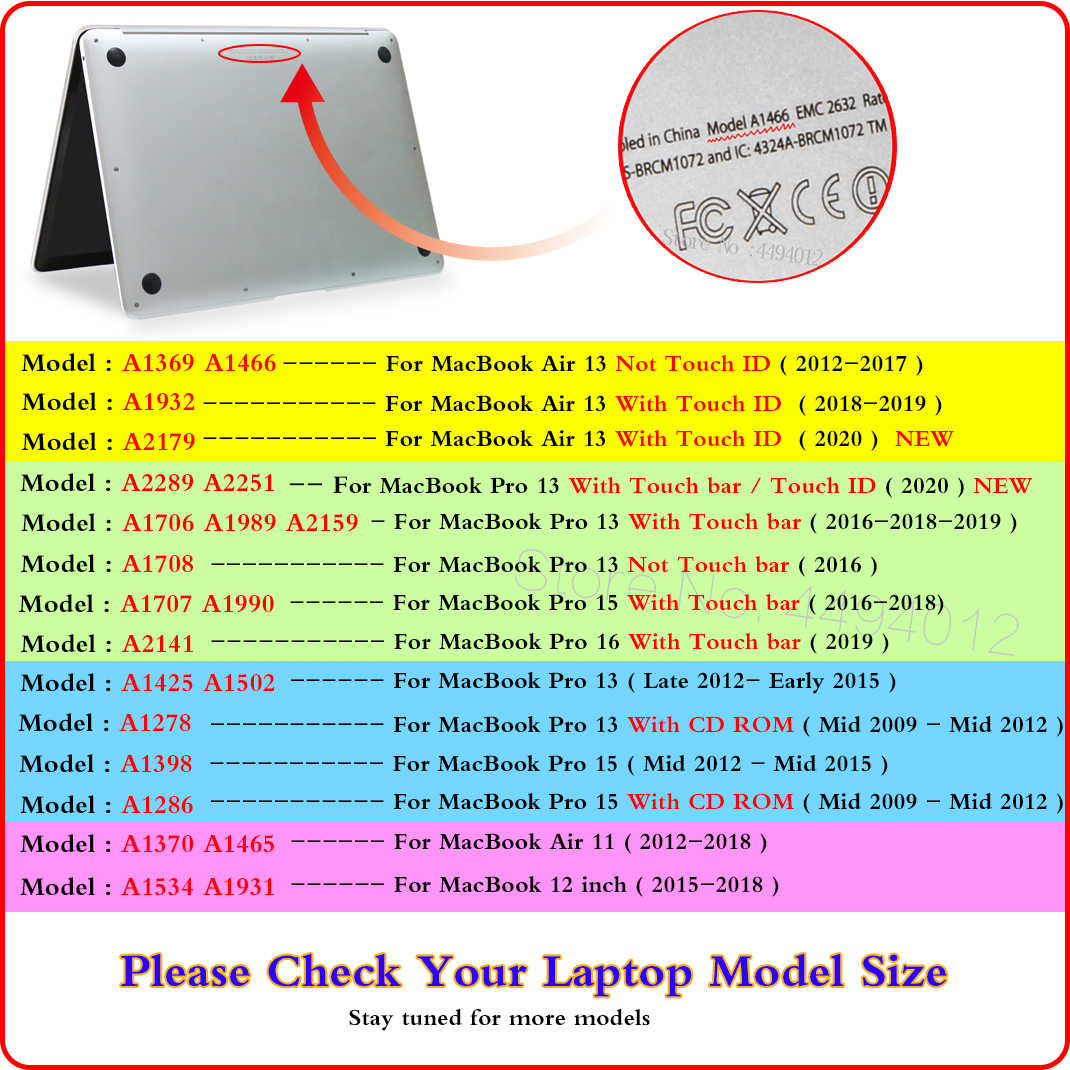 Crystal Hard Laptop Case Voor Macbook Pro 16 A2141 2019 Touch Id A1932 A2179 Cover Voor Macbook Air 13 A1466 pro Retina 12 11 15