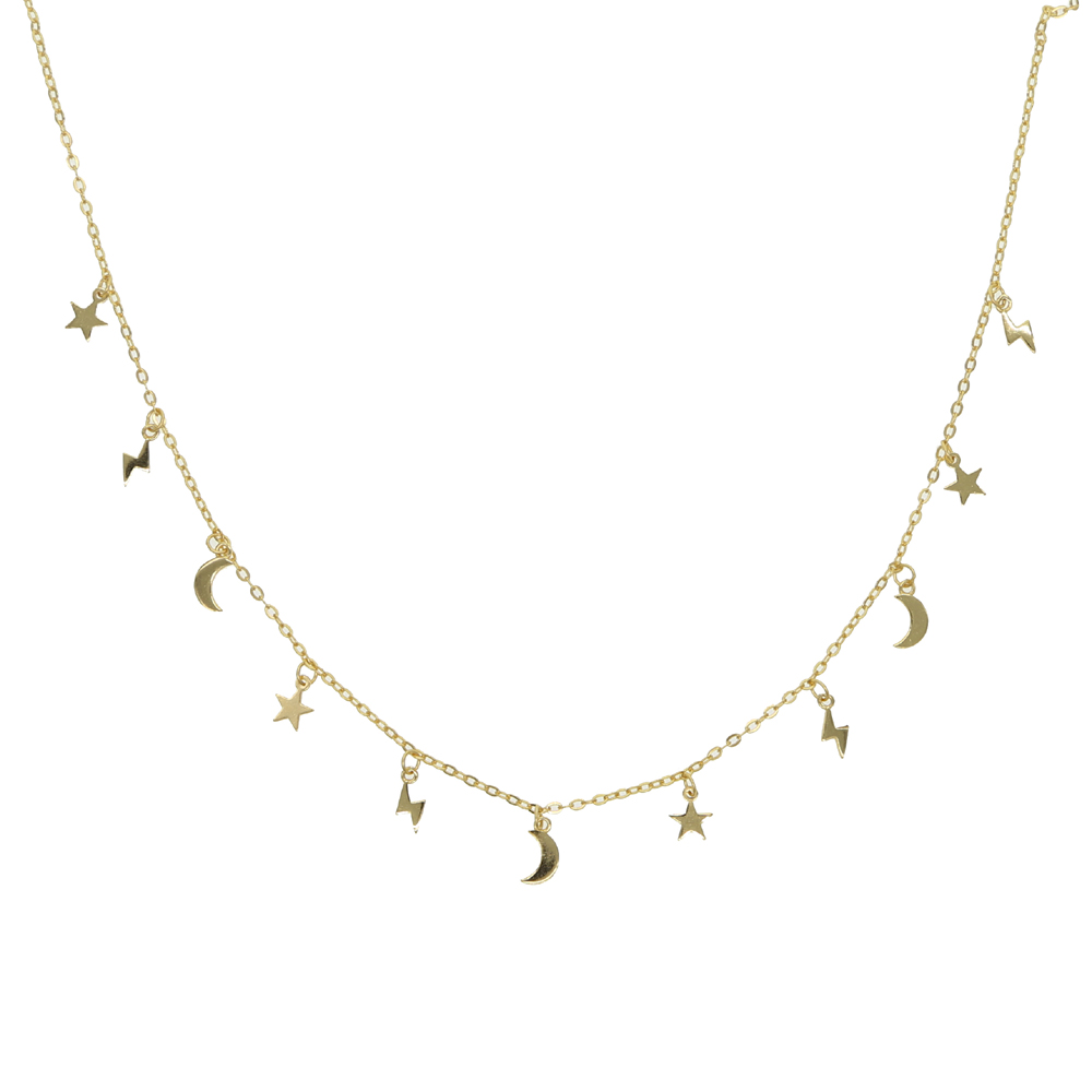 Real 925 Sterling silver gold filled vermeil jewelry minimal delicate mini moon star light bolt charm choker necklace jewelry
