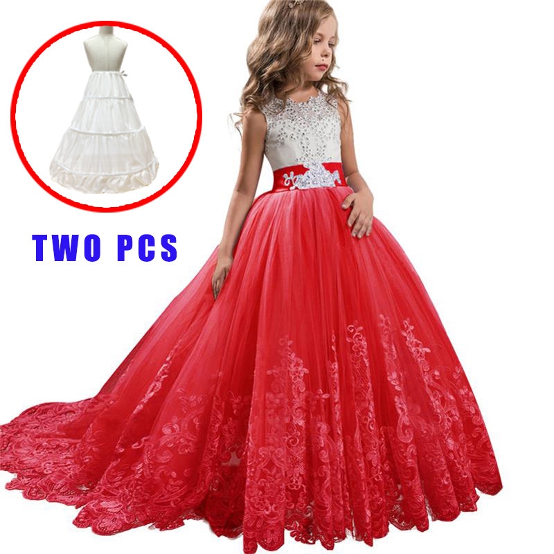 Long Lace   Flower     Girls     Dress   Children Clothing Birthday Princess Evening Party   Dresses   First Communion Wedding   Dresses   for   Girl
