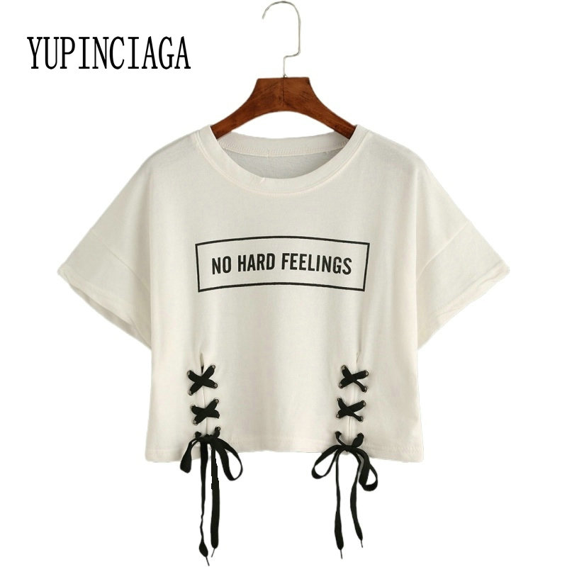 YUPINCIAGA Sommer Frauen t shirt Baumwolle Nabel Spitze-up Design Oansatz Brief Drucken Kurzarm Weiß Dance Femme Casual crop Tops