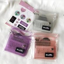 Горячие прозрачные ID карты держатель ПВХ складной короткий кошелек модные женские блестящие девичьи визитные карточки Чехол кошелек с шнурком суммой