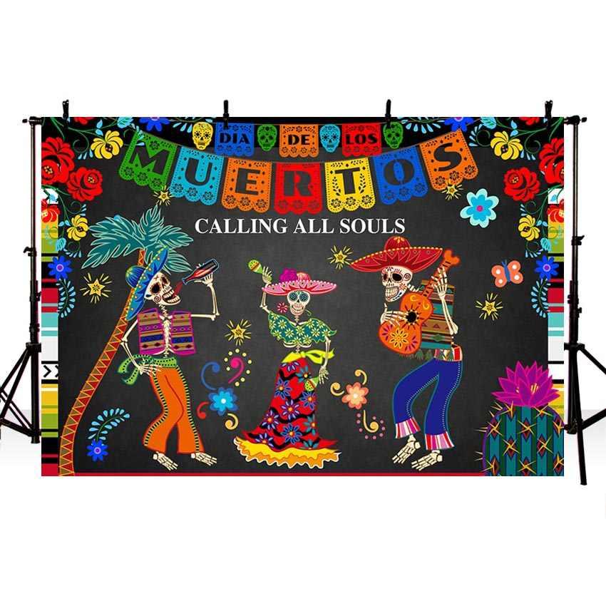 خلفية التصوير المكسيكي ضياء دي لوس Muertos خلفية الديكور حفلة فييستا راية صور استوديو صور صور الدعامة