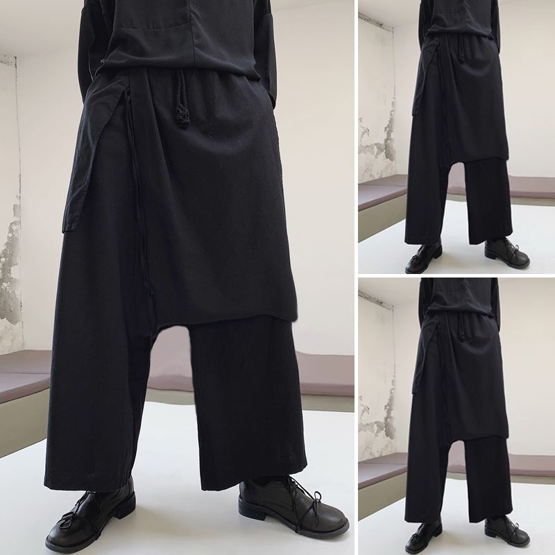 Spring New Arrival Mens Irregular Elastic Waist Pants Loose Dressed Wide Leg Baggy Trousers Male Black Casual Long Bottoms