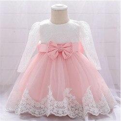 Цветочное платье для девочек, платье для маленьких девочек 12-36 месяцев, платья на день рождения для маленьких девочек, кружевное платье с дл...
