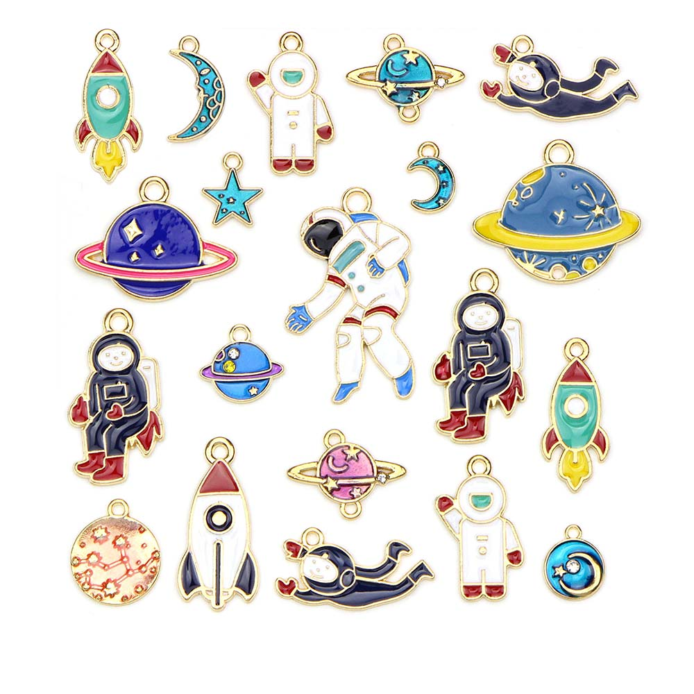 Mixed Style 10pcs Space Drop Oil Alloy Enamel Cosmonaut Pendants Planet Copper Plated Charm Diy Jewelry Findings Components(China)