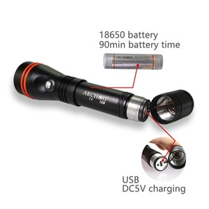 Image 2 - ARCHON C10R الغوص مضيا USB شحن الغوص الشعلة 1200 التجويف كري LED رقاقة مصباح تحت الماء 100 متر مصباح غوص المدمج في 18650