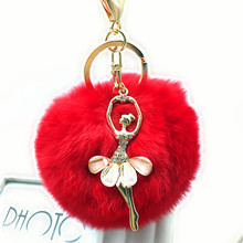 Ballet girl Women Chaveiro Angel Keychain 8cm Fur Pom Pom Key Chain Faux Rabbit Hair Bulb Bag Ornaments Fox Ball Pendant 2020 plush toys dancing fluffy ball keychain soft women angel faux rabbit hair bulb 8cm fur pom pom mini doll stuffed toys kids gift