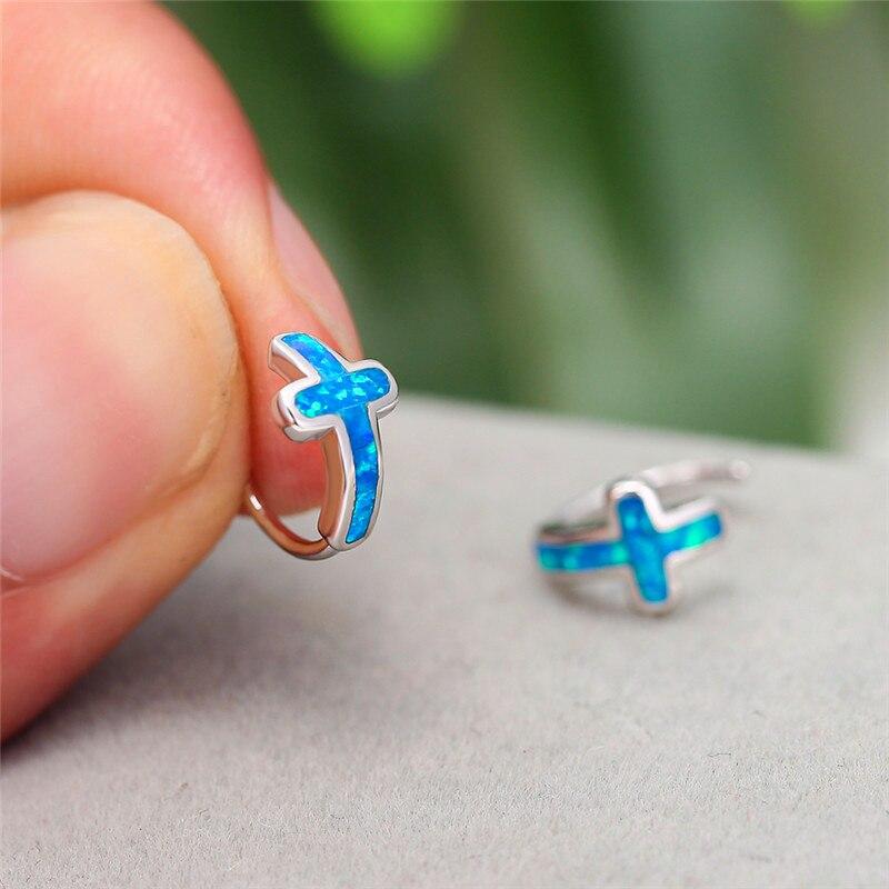 Blue/White Fire Opal Stone Cross Stud Earrings For Women White Gold Wedding Earrings Female Lucky Jewelry Luxury Gifts
