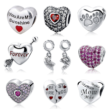 Fit Pandora Charms Bracelets Authentic 925 Sterling Silver Love Hearts Shape Beads With Colours & Clear CZ Jewelry Making Gifts