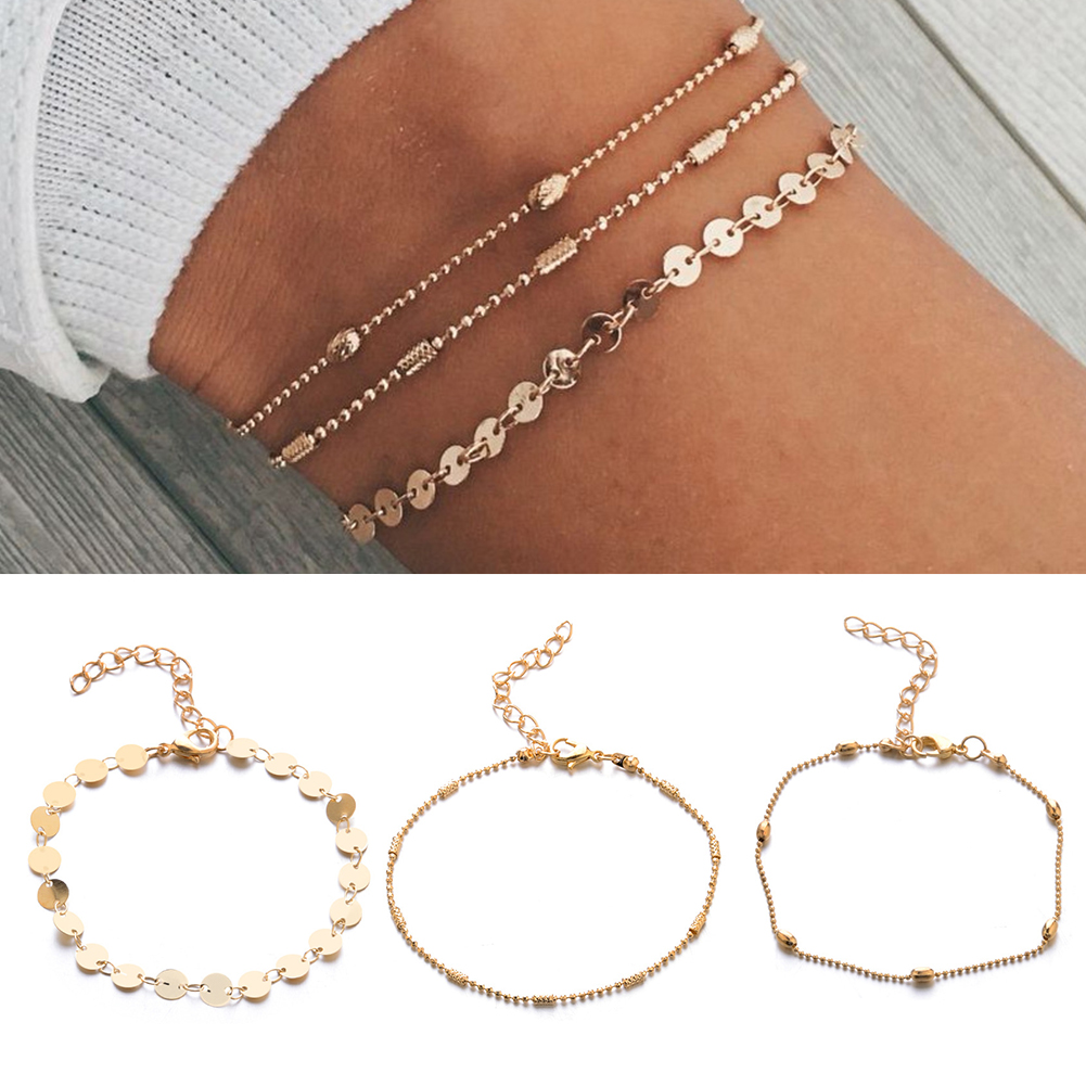 Hot Bohemian Crystal Sequins Anklet Set Fashion Handmade Ankle Bracelet For Women Summer Foot Chain Beach Barefoot Jewelry