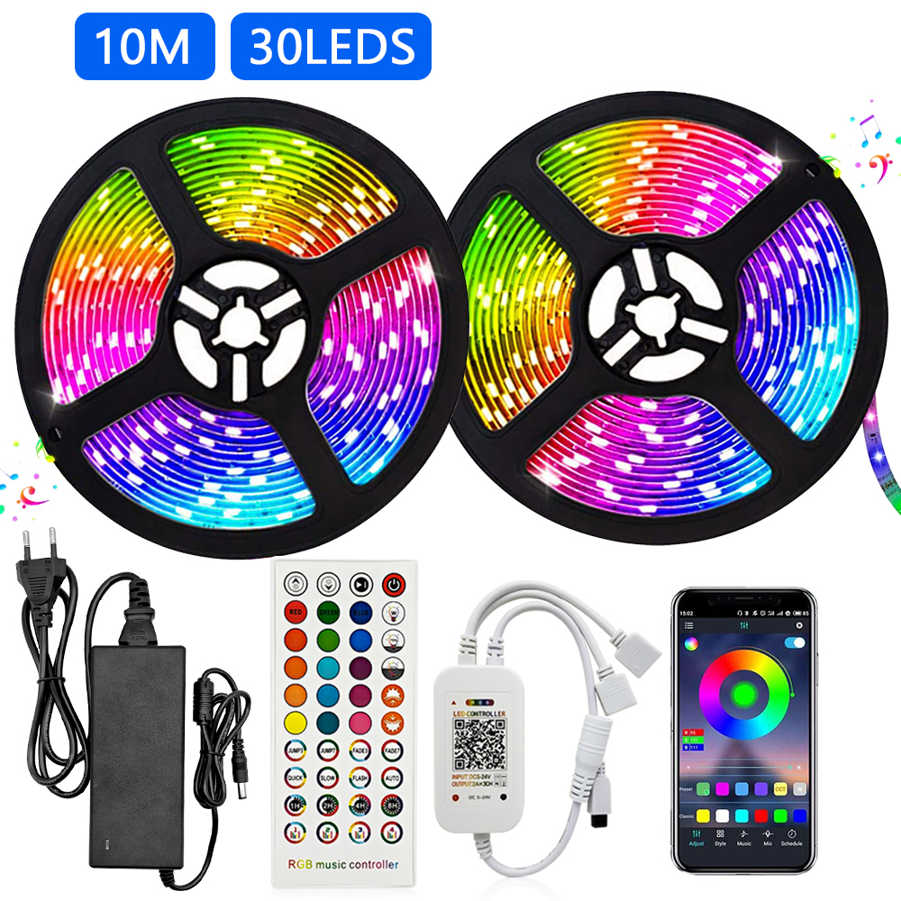 LED Light Strip RGB 5050 Flexible led light strip RGB 5050 led strip 10m Tape DC 12V   40 Keys Remote Control   5A Adapter