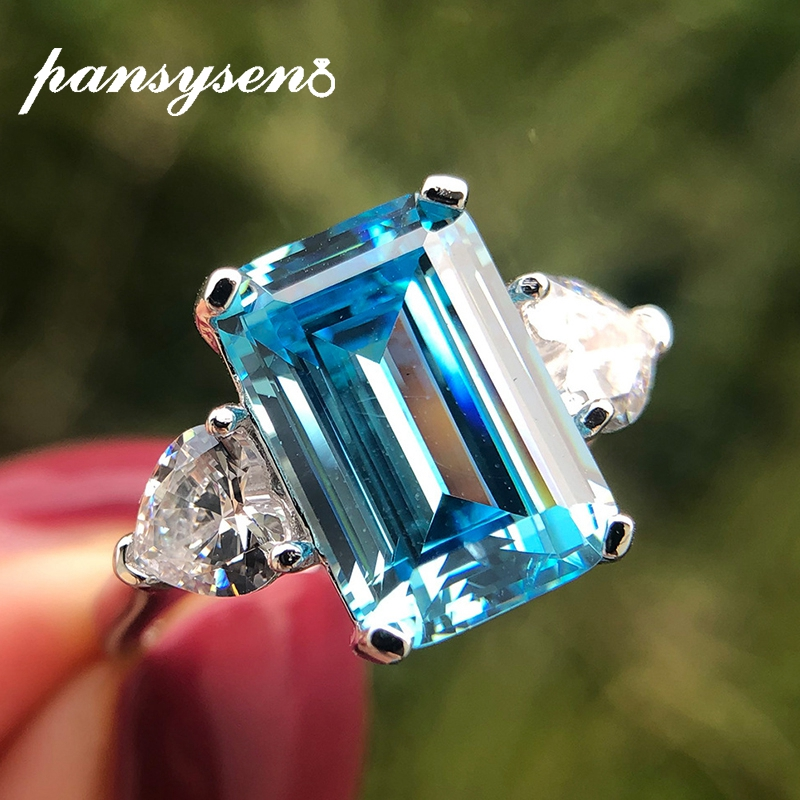 PANSYSEN Top Quality 8x12MM Aquamarine Gemstone Ring Pure 925 Silver Jewelry Rings for Women Girl Fine Jewelry Anniversary Gift
